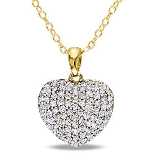 Amour Yellow Silver Round Cut Diamond Heart Pendant