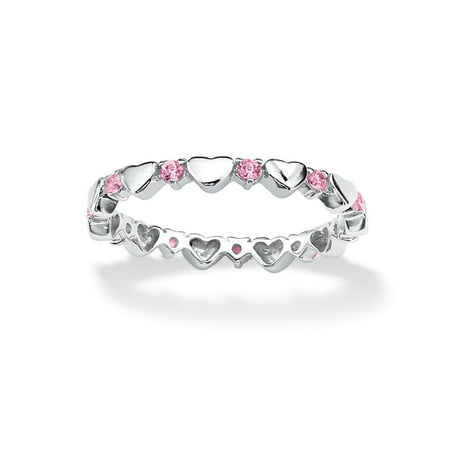 Birthstone Interlocking Stackable Eternity Heart Ring in .925 Sterling Silver - June- Simulated (Rose Simulated Pearl)