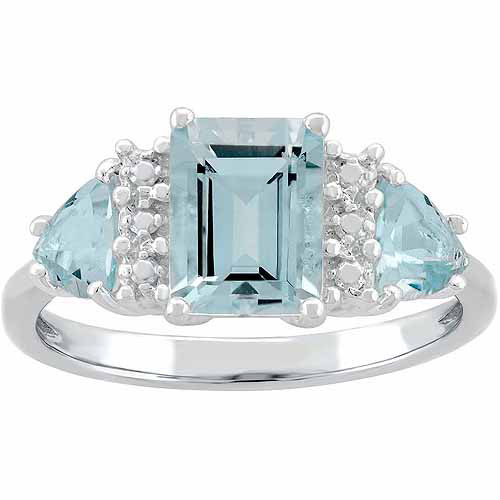 Blue Topaz Sterling Silver Side Trillions and Emerald-Cut Center Three-Stone Ring