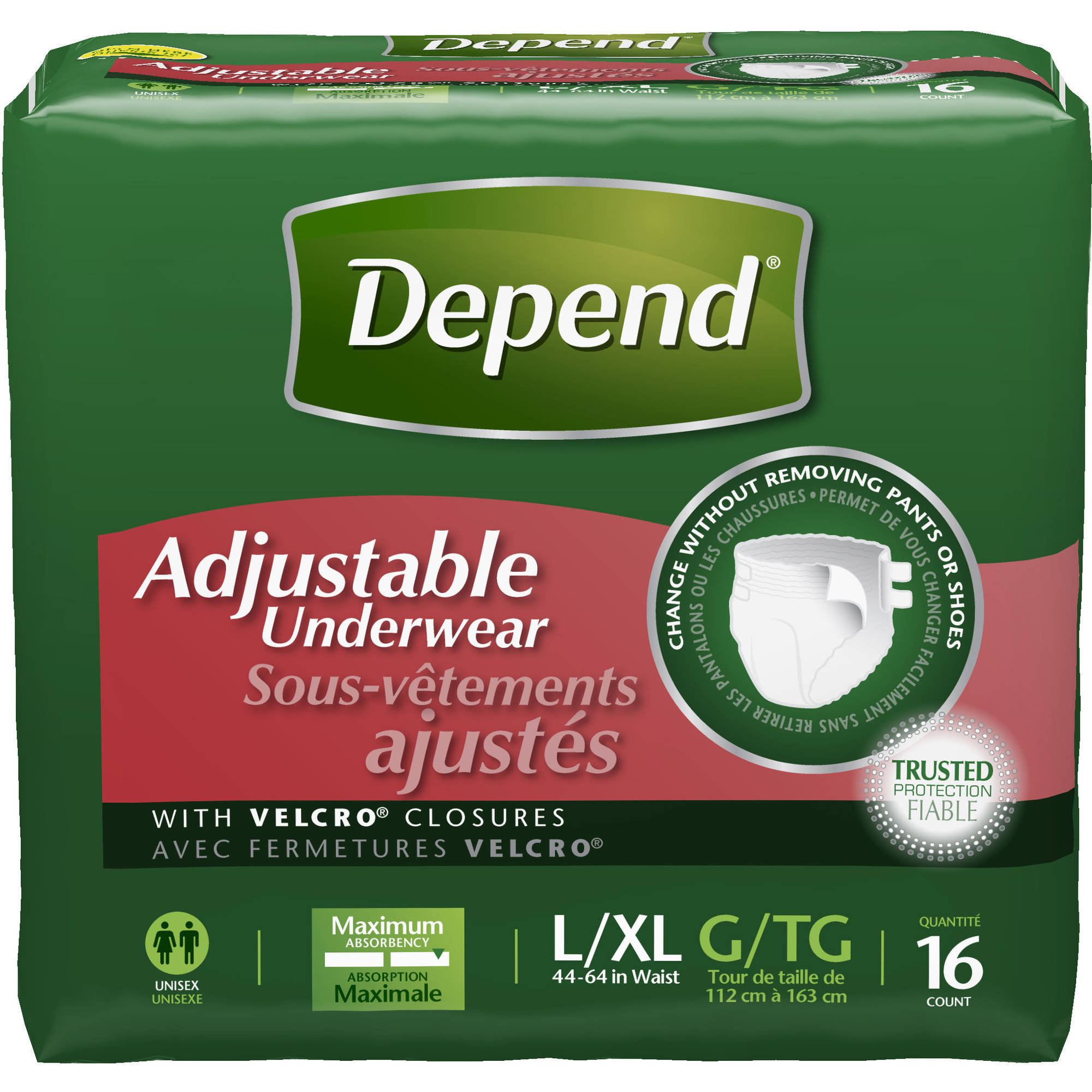 Depend Adjustable Underwear Maximum Absorbency, Large/Extra Large 16 Count