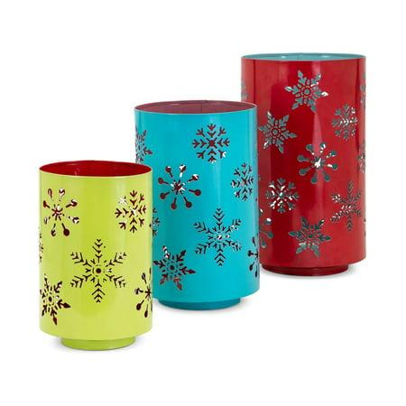 Whimsy Christmas Pierced Snowflake Lanterns - Set of 3 - Muticolor - Benzara