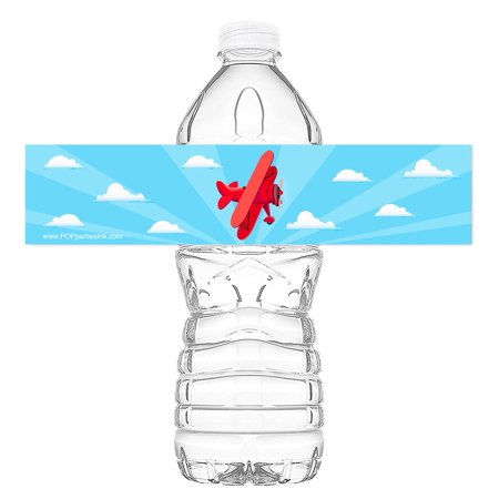 Water Bottle Wrappers (Red Airplane Bottle Wraps - Set of 20 - Airplane Water Bottle Labels - Airplane Decorations - Made in the)