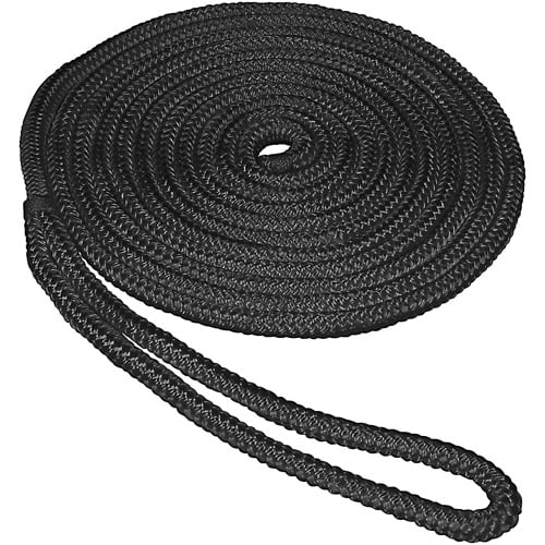 "SeaSense Double Braid Nylon Dock Line, 3 8"" x 20', 10"" Eye, Black by Unified Marine"