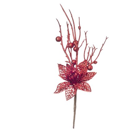 Darice Red Glitter Poinsettia Pick 2.75 to 4 X 13.8 - Red Poinsettia Glass