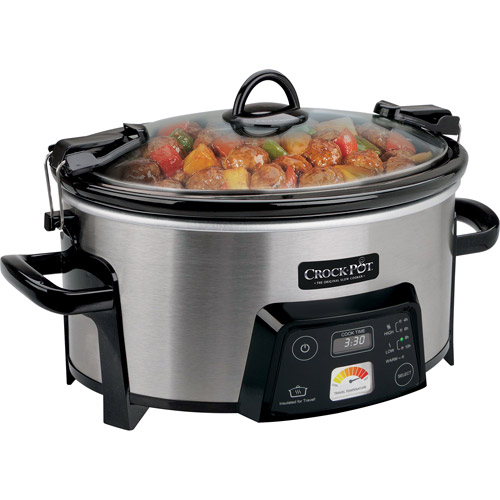Crock-Pot 6-Quart Cook & Carry Digital Slow Cooker with Heat-Saver Stoneware, Brushed Stainless Steel, SCCPCTS605-S-A