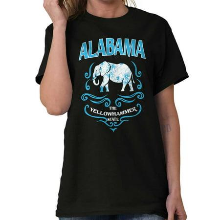 Brisco Brands Alabama Feminine Elephant Gift Lady Short Sleeve T Shirt Alabama Ladies Sapphire