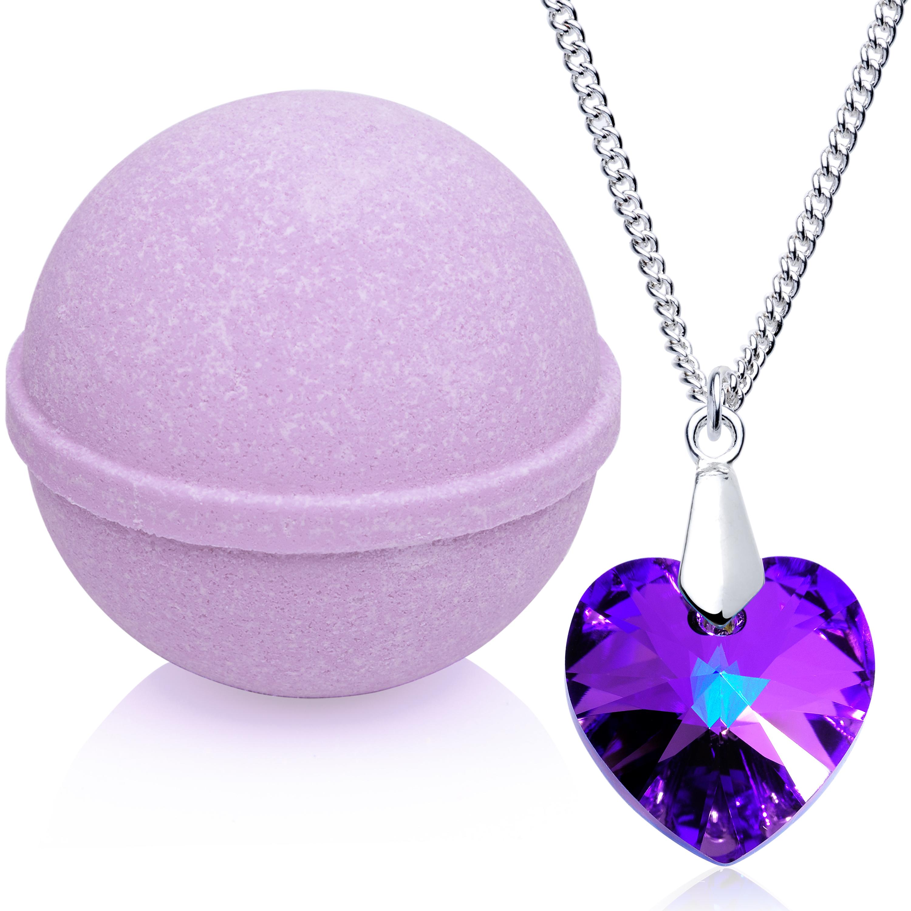 Enliven Me Lavender Bath Bomb with Necklace Created with Swarovski Crystal Extra Large 10 oz. Made in USA