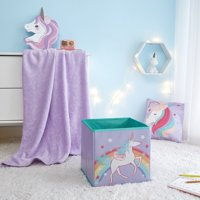 Your Zone Unicorn Set for Kids, 3 Pieces includes Storage Cube, Throw & Decorative Pillow