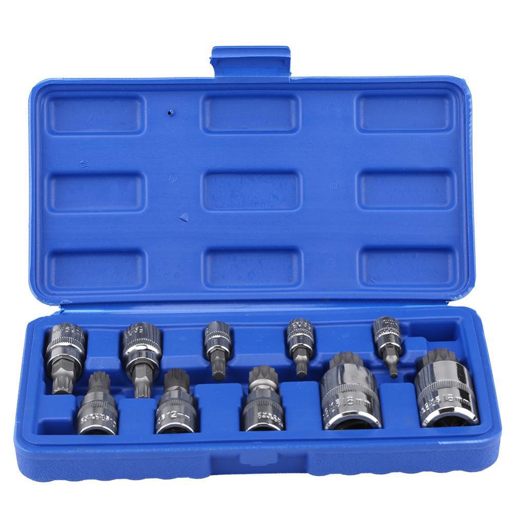 Lv. life 10Pcs 12 Point Triple Square Splined Bit Socket Set M4-M18 1/4  3/8  1/2  Drive Repair Tool Kit, Splined Bit Socket,12 Point Bit Socket