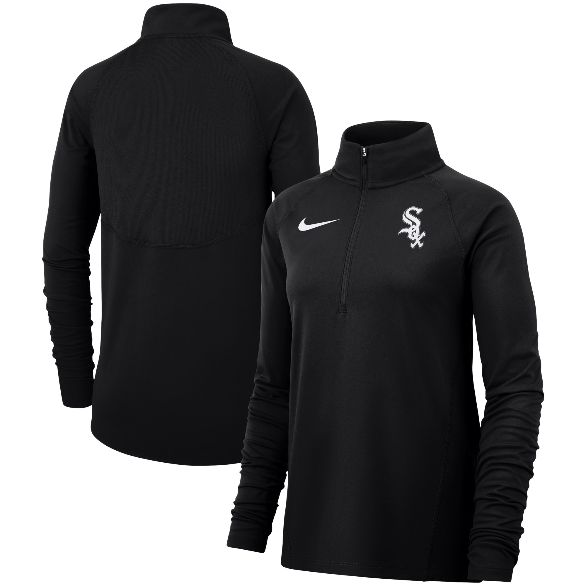 Chicago White Sox Nike Women's Team Core Half-Zip Raglan Pullover Jacket - Black