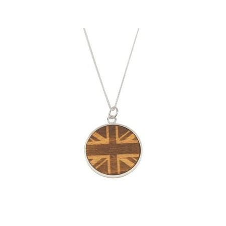 Union Jack Wood Necklace - Made from a Tree on Sir Winston Churchill