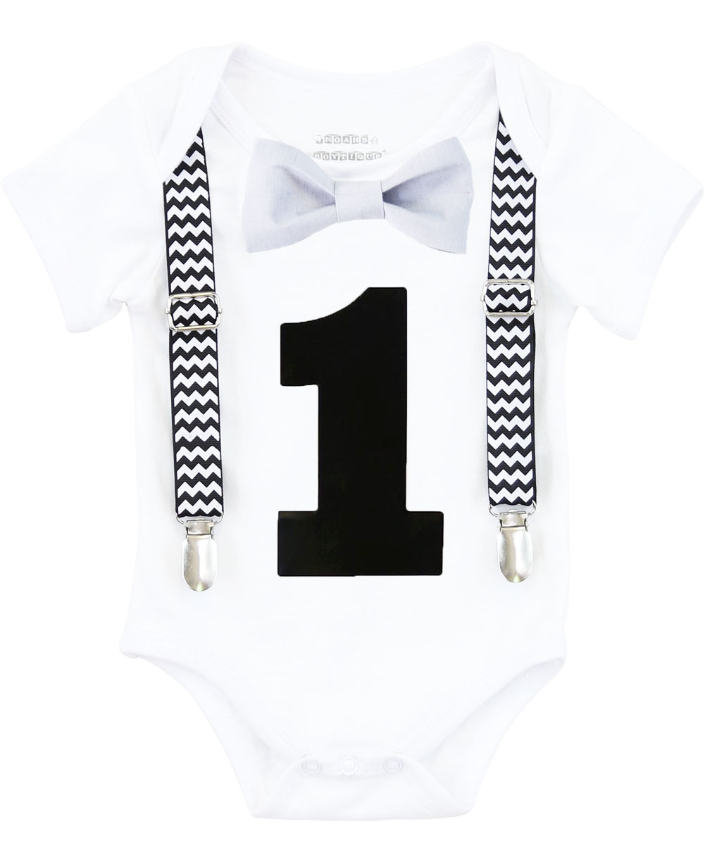 Noah's Boytique First Birthday Clothes Boy Cake Smash Outfit Black Chevron Grey Bow  Little Gentleman 12-18 Months
