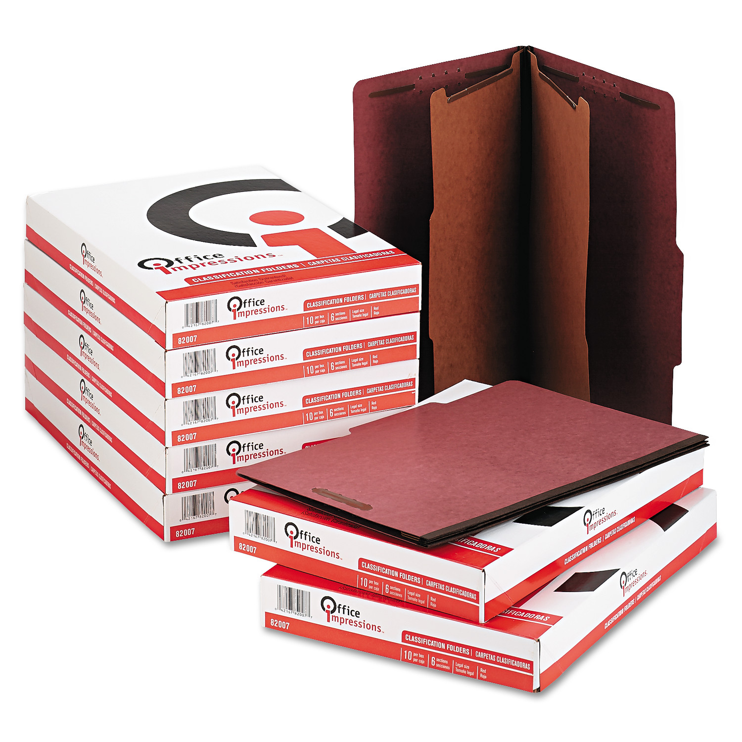 Office Impressions Pressboard Classification Folder, Legal, Six-Section, Red, 10/Box -OFF82007
