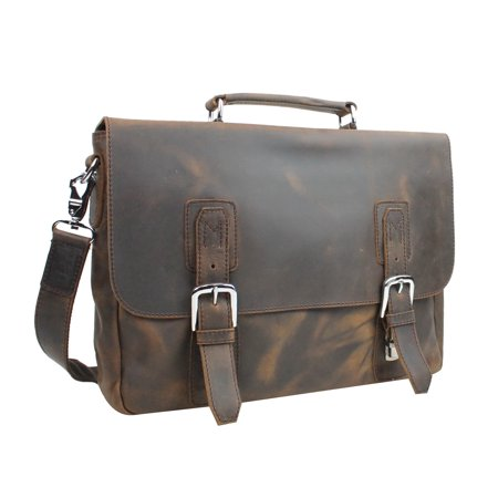 Full Grain Leather Laptop Bag with Clasp Lock L55.VD Organized Travelers Leather