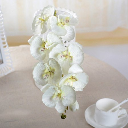 Artificial Flowers 8 Head Phalaenopsis Bouquet Wedding Party Home (Phalaenopsis Corsage)