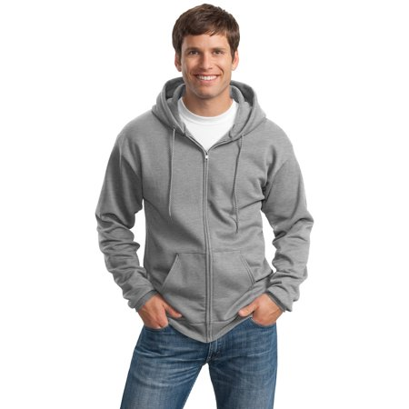 Port Company Pc90zht Mens Hooded Zip Sweatshirt   Athletic Heather   X Large Tall