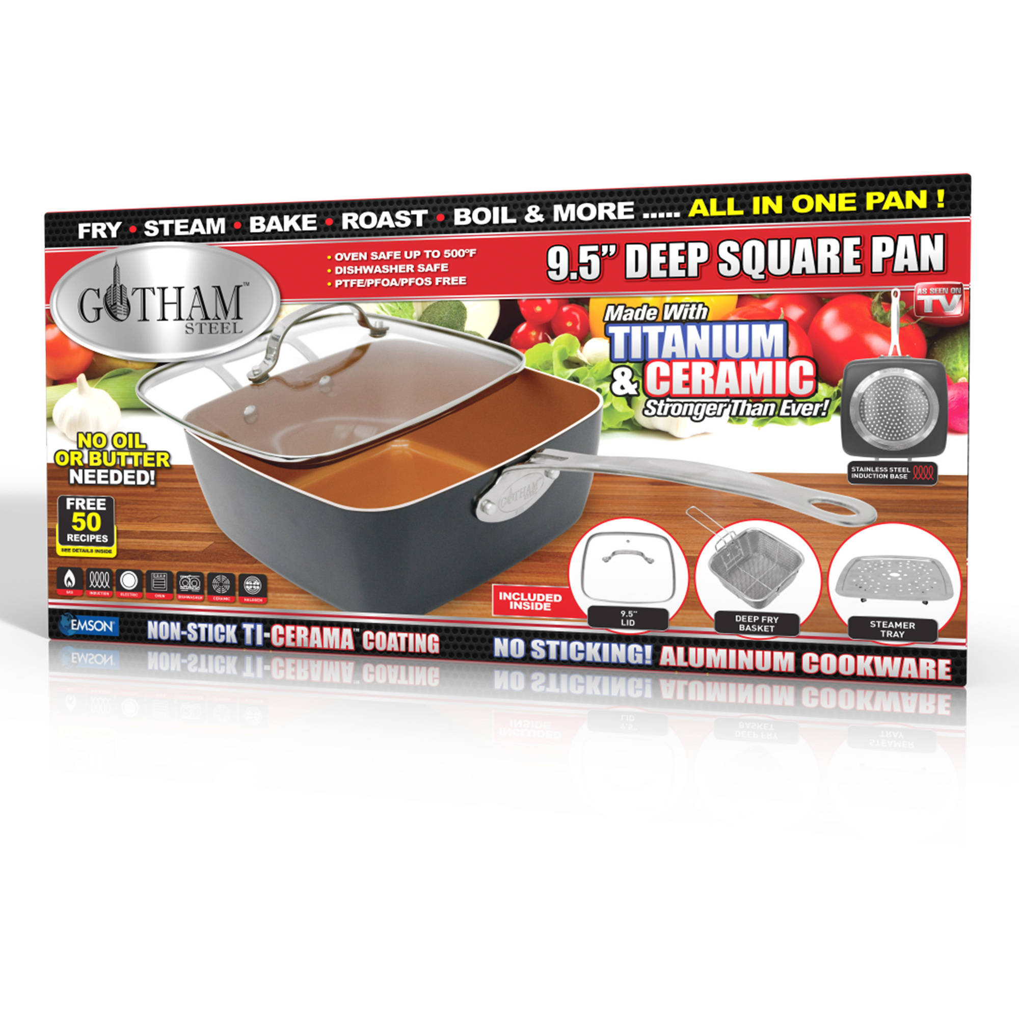 "Gotham Steel Ceramic and Titanium Nonstick 9.5"" Deep Square Pan"