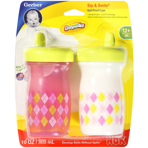 Gerber Graduates Sip & Smile Fashion Argyle Spill-Proof Cups, 2ct