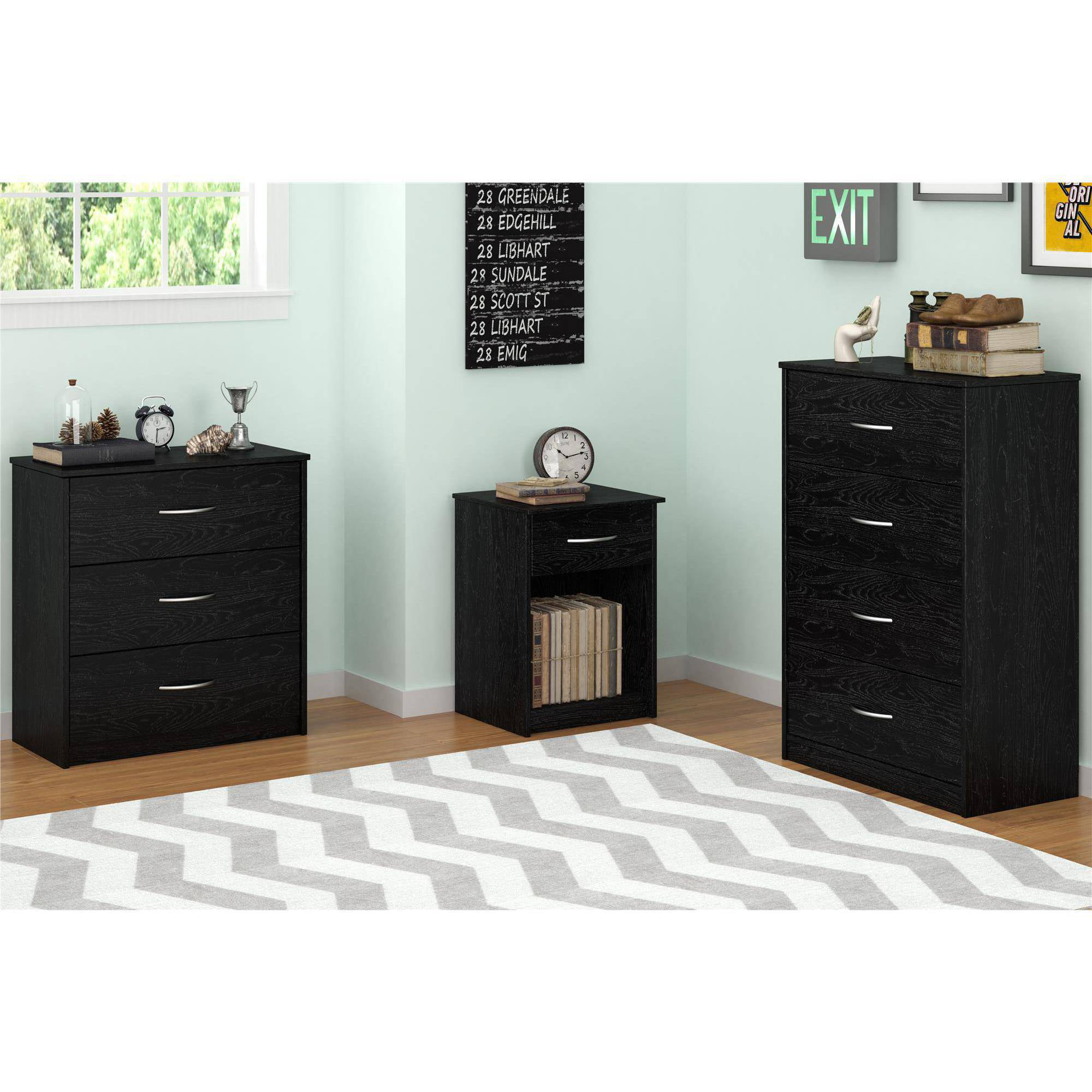 4 Drawer Dresser Chest Bedroom Furniture Black Brown White Storage Wood Modern Ebay