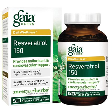 Resveratrol 150, Vegan Liquid Capsules, 50 Count - Antioxidant & Cardiovascular Support for Healthy Aging, Highly Concentrated Trans-Resveratrol Gaia Herbs - Frustration-Free Packaging