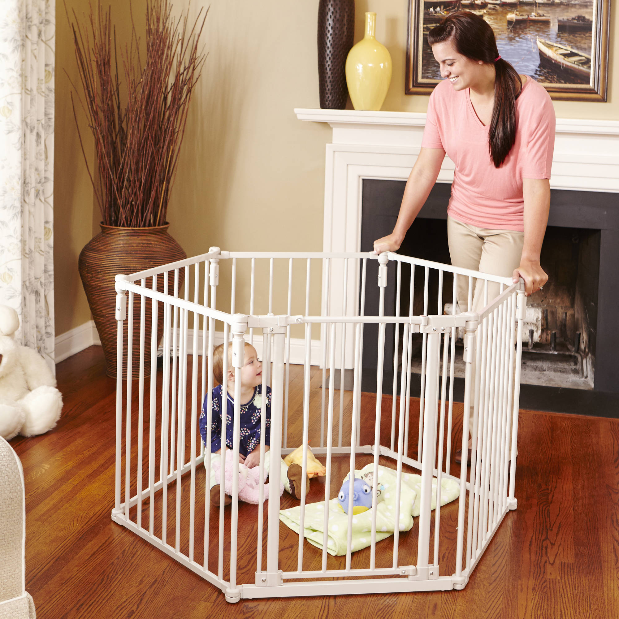 North States - 3-in-1 Metal Superyard Portable Playard & Gate