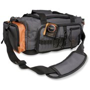South Bend Ready-to-Fish Soft-Sided Fishing Tackle Bag, Medium, Grey / Orange
