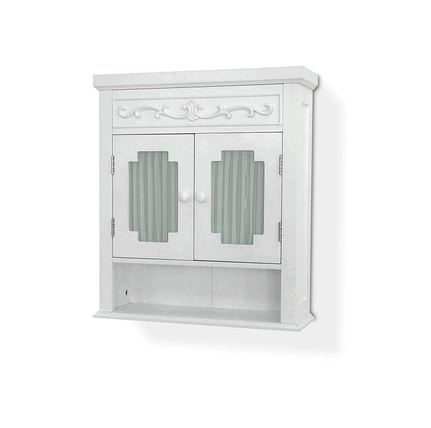 Elegant Home Fashions Lisbon Collection Shelved Wall Cabinet With Glass Paneled Doors White Walmart Com Walmart Com