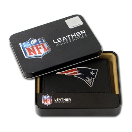 New England Patriots Embroidered Leather Tri-Fold Wallet, Fold Tan New Genuine Shield Crossgrain Size Recliner Trifold England Tri Furniture XML4363ORGBLK Full.., By Hall of Fame Memorabilia