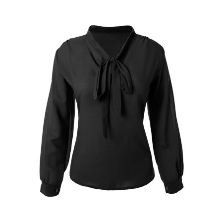 SAYFUT Chiffon Sheer Tops for Women Fashion Bow Tie Neck Long Sleeve Tops Casual Blouse Shirt for Office Work Chiffon Bow Front Blouse