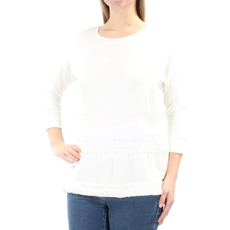KENSIE Womens White Lace Fringed 3/4 Sleeve Jewel Neck Top  Size: M
