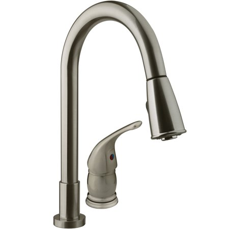 Dura Faucet Pull-Down RV Kitchen Faucet - Brushed Satin Nickel
