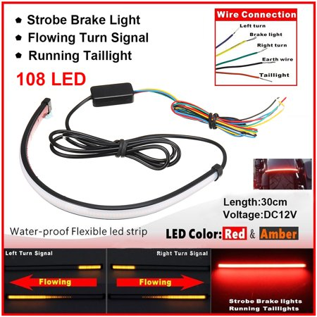 Motorcycle Led Tail Lights - 12 inch 12V Universal Motorcycle Sequential Switchback Flowing LED Tail Brake Turn Signal Strip Lights Tube,Dual Color Red/Amber Switchback