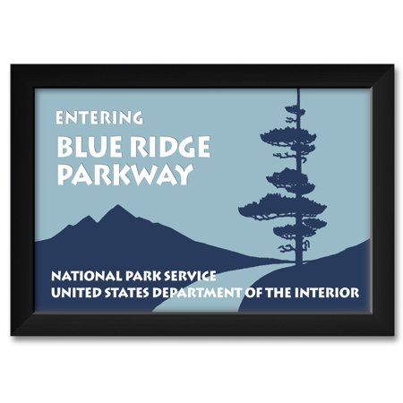 Blue Ridge Parkway Entry Sign Framed Art Print by NW ArtMall. Print Size: 12