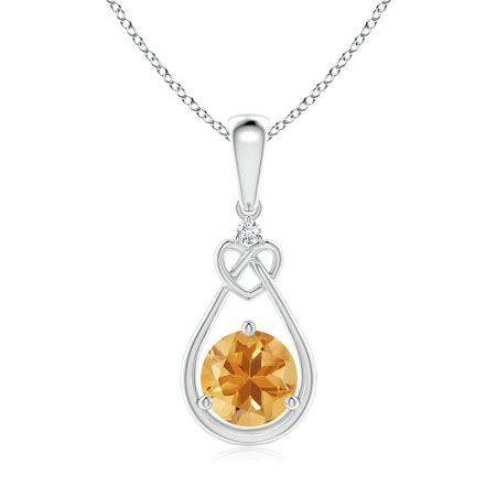 Mother's Day Jewelry - Citrine Knotted Heart Pendant with Diamond in 14K White Gold (7mm Citrine) -
