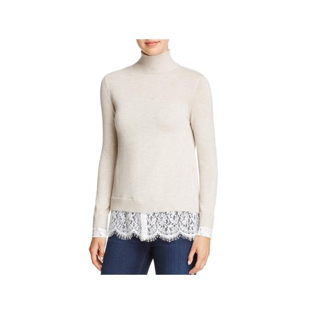 Joie Womens Fredrika Wool Blend Lace Trim Mock Turtleneck Sweater Tan XXS