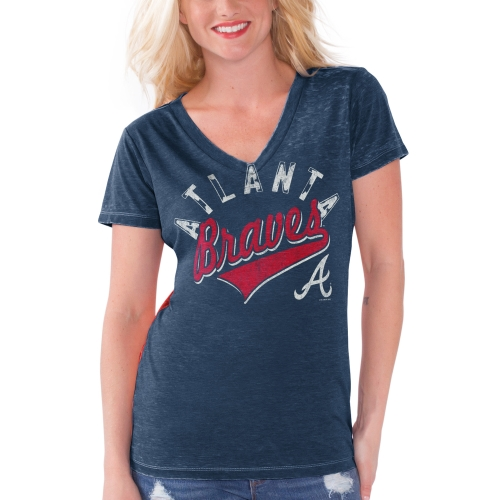 Atlanta Braves Touch by Alyssa Milano Women's Bases Loaded V-Neck T-Shirt Navy Blue by G-III LEATHER FASHIONS INC