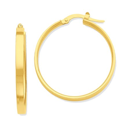 14K Yellow Gold Flat Round Hoop Earrings - 27mm
