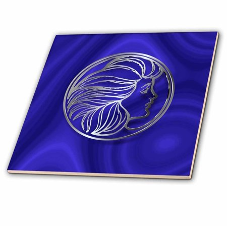 3dRose Photo of Art Nouveau Style Girl in Faux Silver Effect over blue velvet - Ceramic Tile, 6-inch
