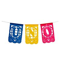 Small Plastic Banner - Uno - Mexican Papel Picado Letrero Ideal for Baby's 1st Birthday