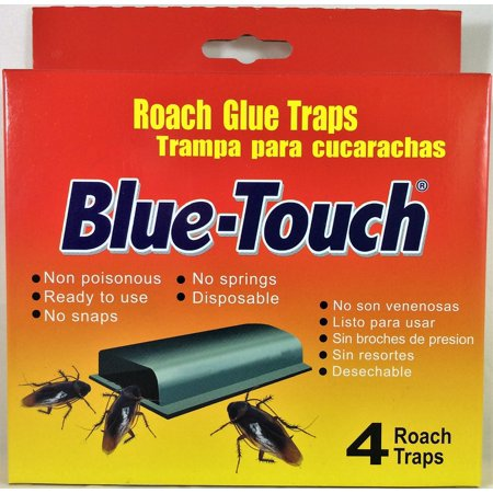 Blue-Touch Roach Glue Traps - Pack of 4 Cockroach Traps - Giant Cockroach