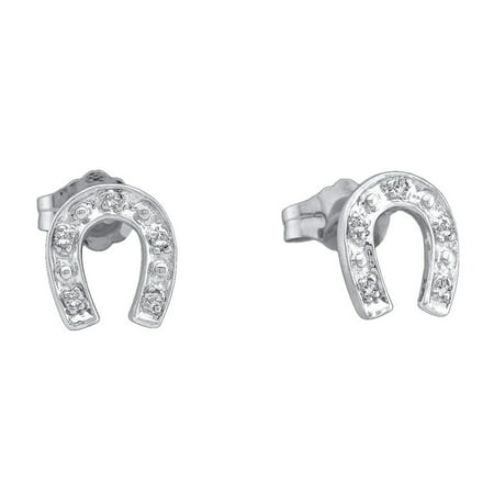 Sterling Silver Womens Round Diamond Lucky Horseshoe Screwback Earrings 1/20 Cttw = .05 Cttw (I3 Clarity, round cut)