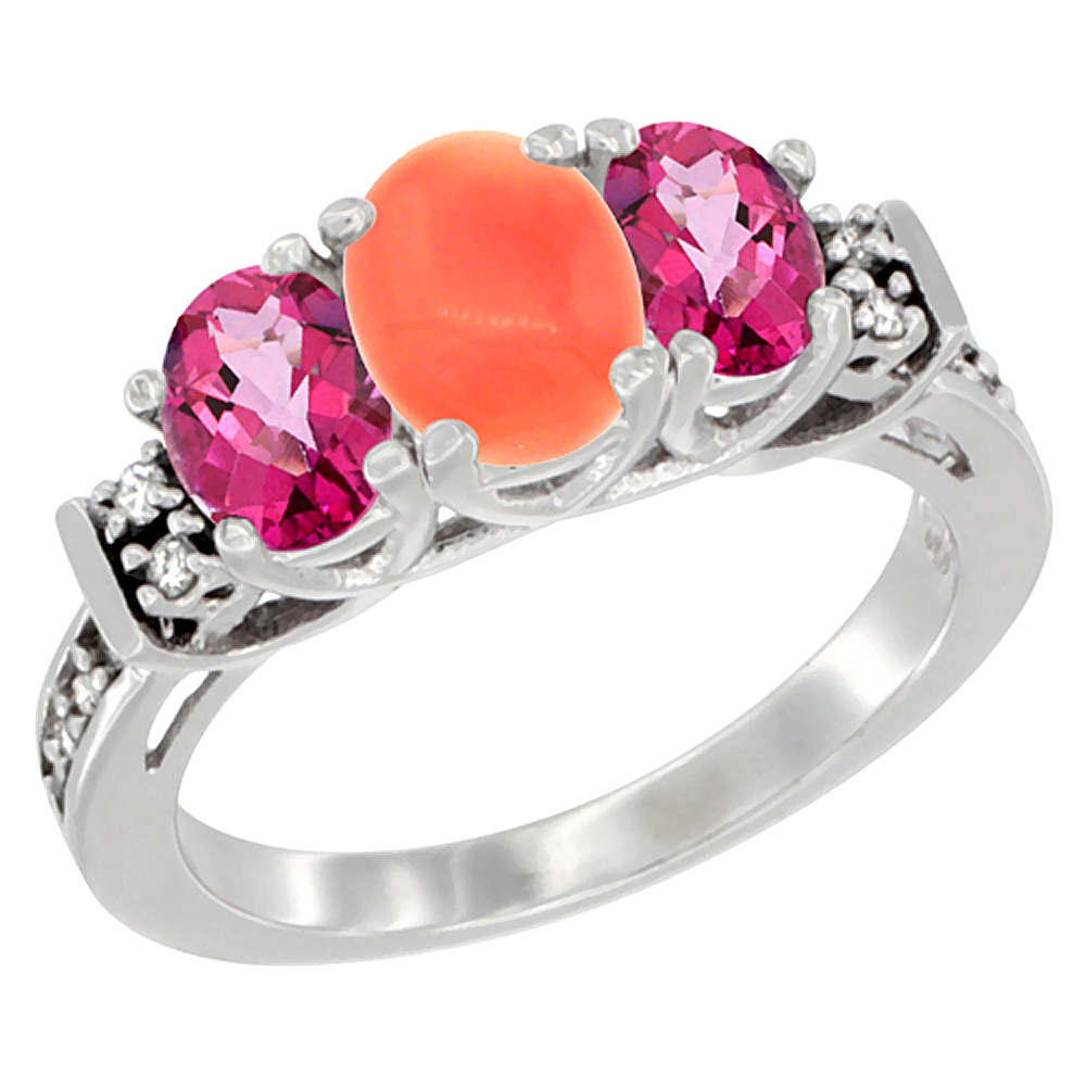 14K White Gold Natural Coral & Pink Topaz Ring 3-Stone Oval Diamond Accent, sizes 5-10 by WorldJewels