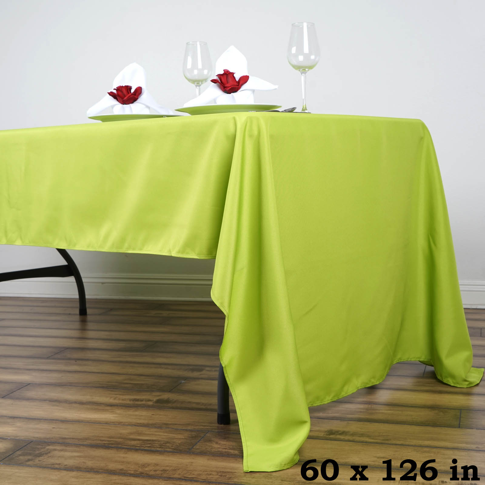 "BalsaCircle 60"" x 126"" Rectangular Polyester Tablecloth for Party Wedding Reception Catering Dining Home Table Linens"