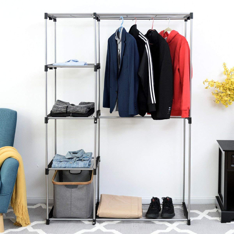 Deluxe Double Rod Closet Wardrobe Metal Free Standing Sturdy Garment Rack  Clothes Storage Organizer Black