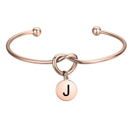 Love Knot with Round Disc Engraved Initial Bangle Bracelet,Bridesmaid Gift,Personalized Gift for Women Girl Bridesmaid Jewelry(J)](Cheap Bridesmaid Gifts)