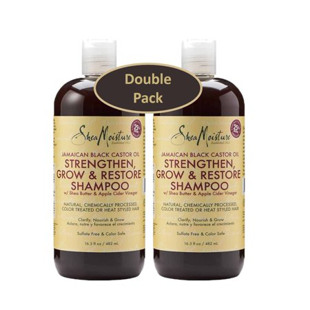 Shea Moisture Jamaican Black Castor Oil Strengthen, Grow & Restore 16.3 oz Shampoo, w/ Shea Butter & Apple Cider Vinegar 13 oz. – Sulfate Free & Color Safe - Value Pack of 2 (Olive Oil And Apple Cider Vinegar Salad Dressing)