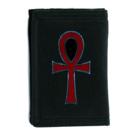 Red Ankh Egyptian Hieroglyph Tri Fold Wallet Goth Clothing Eternal
