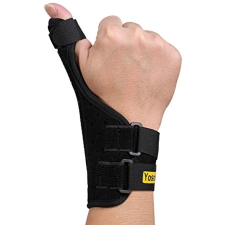 Thumb Splint (Yosoo Thumb Splint Adjustable Neoprene Hand Thumb Brace Stabilizer Guard Spica Support Your Finger for Arthritis Tendonitis Sprained Thumb Symptoms Broken Hyperextended Thumb, One Size, Unisex, Black )