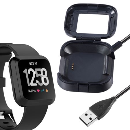 Compatible with Fitbit Versa 2 Charger, 2/1Pcs Replacement USB Charging Cable Dock Stand for Versa 2 Health & Fitness Smartwatch, 3Ft Sturdy Power Cord(ONLY for Versa 2) 30 Day Money Back Guaranteed! 12-month free replacement warranty for manufacturer's defects!  Product Features:  Compatibility: This replacement charger is specially designed for Fitbit Versa 2 Health &Fitness Smartwatch. Keep your Versa 2 always alive.  Connection Design: This charger adopted tight connection design, which can also help to keep the charger in place for safe charging. The external protective cover provides full protection for the watch when charging.  Charging Performance: The charger can be connected to USB power source on PC, laptop, notebook, which can also provide high efficiency and high stability charging experiences.  Charing Protection: Offer fast and stable charging speed, provide over- voltage and over-current protection, protect your Versa from being damaged when charging.  Durable: Durable ABS plastic material and TPE cable allow for long service time. Make your versa 2 watch more convenience when charging.  Note: The Versa 2 health &fitness smartwatch is not included.   Product Specification:  Type: Charger Dock Fit: Fitbit Versa 2 (Not for Fitbit Versa) Cable Length:  One meter Material:  ABS plastic and TPE Charging Output:  5V 1A  Package Includes:  1/2 pcs Charging Dock Stand for Fitbit Versa 2