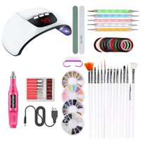 Nail Tool Kit Nail Dryer Lamp USB Charging Nail Pen Nail Drill Handpiece Nail Painting Brushes Nail Dotting Tool Nail Decorations Manicure Tape Color Rhinestones for Nails Beauty